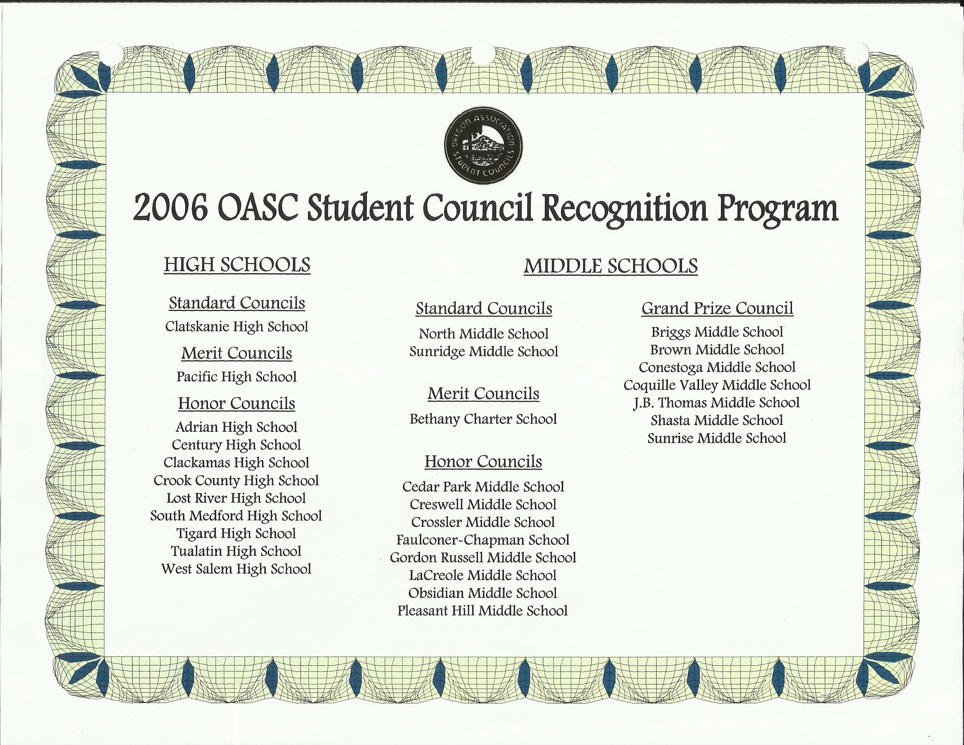student council leadership recognition program ms hs oasc